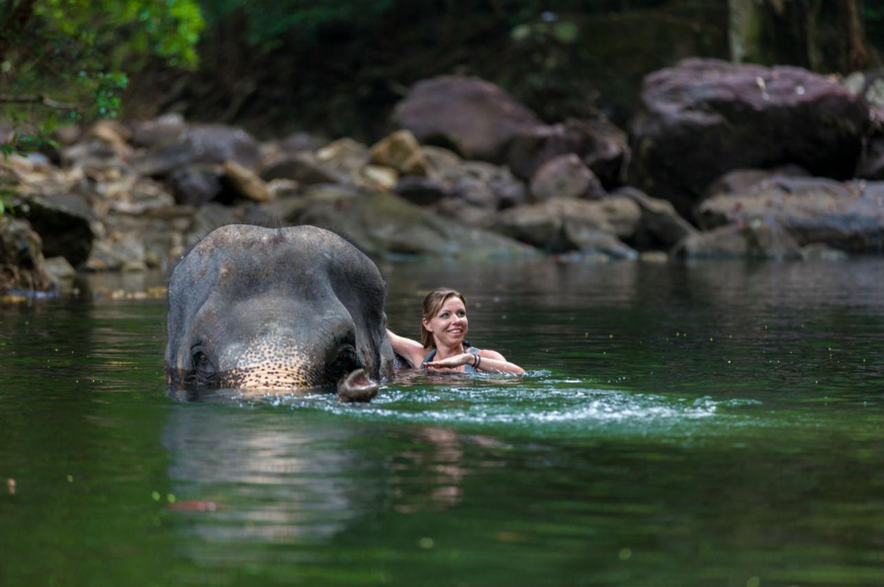 En esta isla puedes nadar… ¡Con elefantes!