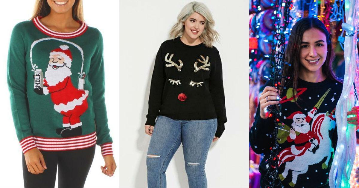 Suéteres FEOS De La Navidad Fotos de archivo - Imagen